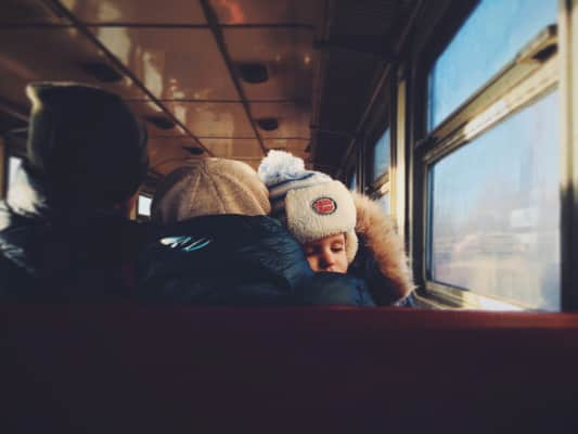 Traveler. Traveling by train. Family trip
