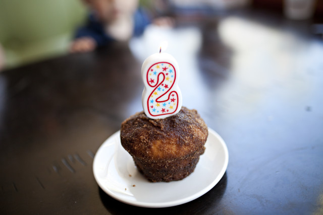 Candle in a birthday muffin