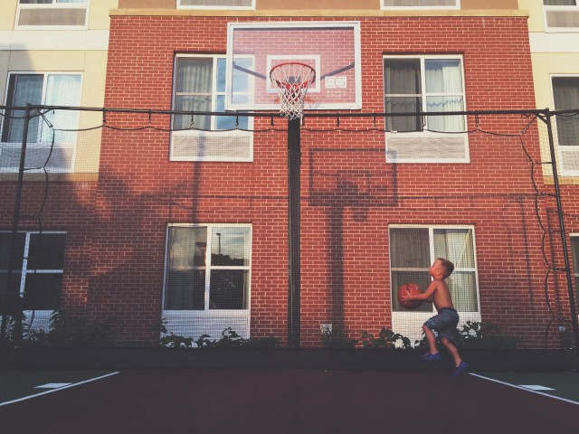 Little boy and basketball