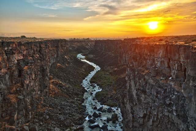 View of river canyon at dusk