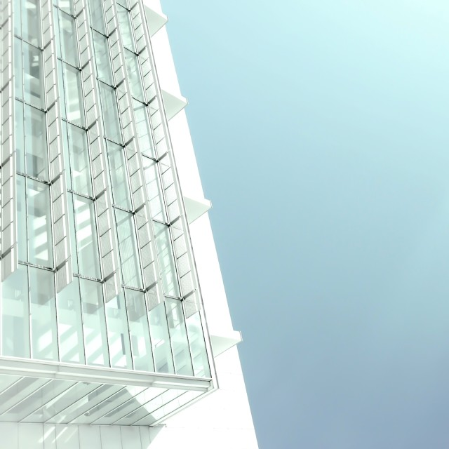 Mid-section of modern white building