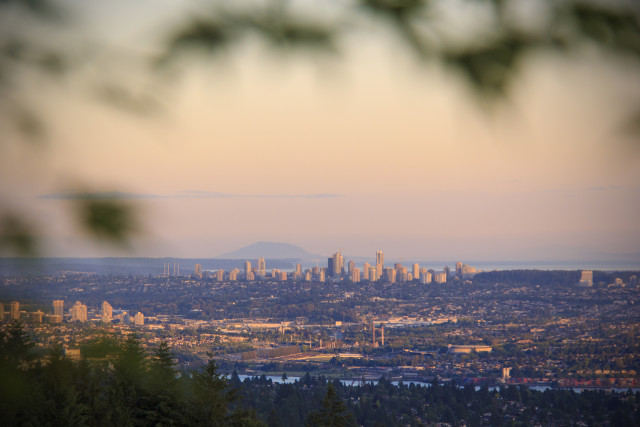 Looking out towards Burnaby and New Westminster from the North Shore during sunset.