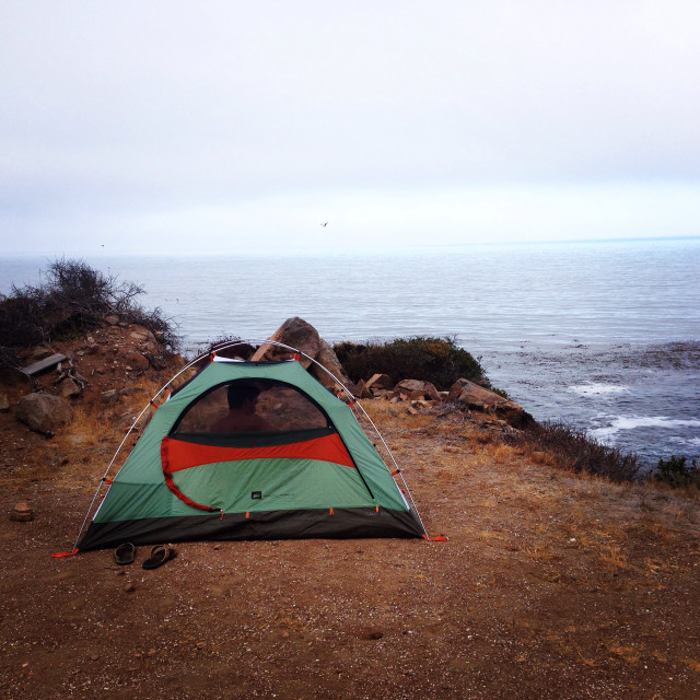 Camping on the cliffs over the tides in Baja, Mexico