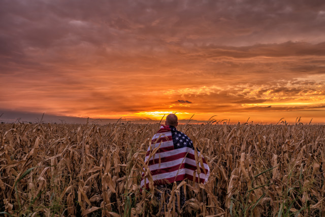 Just enjoying a beautiful North Texas sunset in the corn fields showing off my American pride.