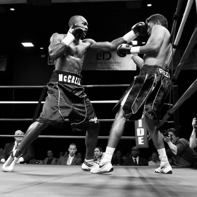 Welterweight boxing pro Cecil Mccalla of Baltimore, MD (L) in action during champs at the chase against Welterweight boxing pro Francisco Reza Friday, Nov 21, 2014 at The Case Center on The River Front in Wilmington, Del.