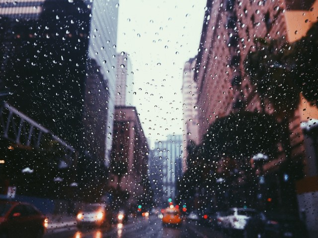 Raining in Los Angeles.