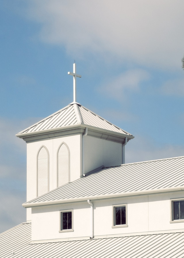 Evangelical church and steeple with cross