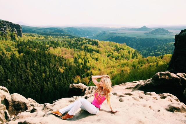 Girl, blonde, mountains, landscape