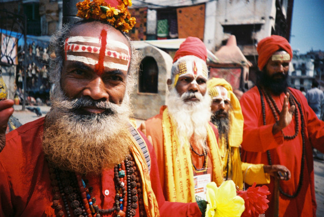 """Holy men"" outside a stupa in Katmandu, Nepal. Lovely friendly fellas  ;)"