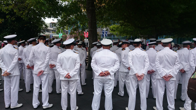 AUCKLAND-DEC.13: New Zealand Navy Naval officers and enlisted personnel get ready for the parade to commemorate the 75th anniversary of the Battle of the River Plate in the South Atlantic during World War 2 on Dec. 13, 2014 in Auckland.