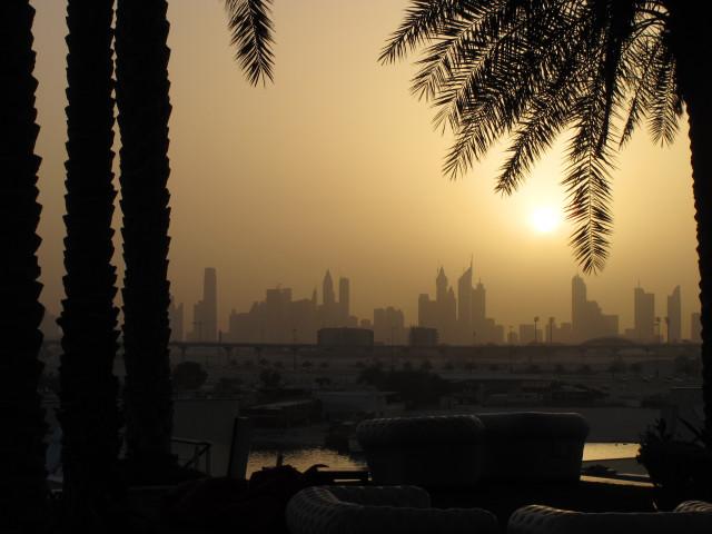 Sunset and Dubai skyline