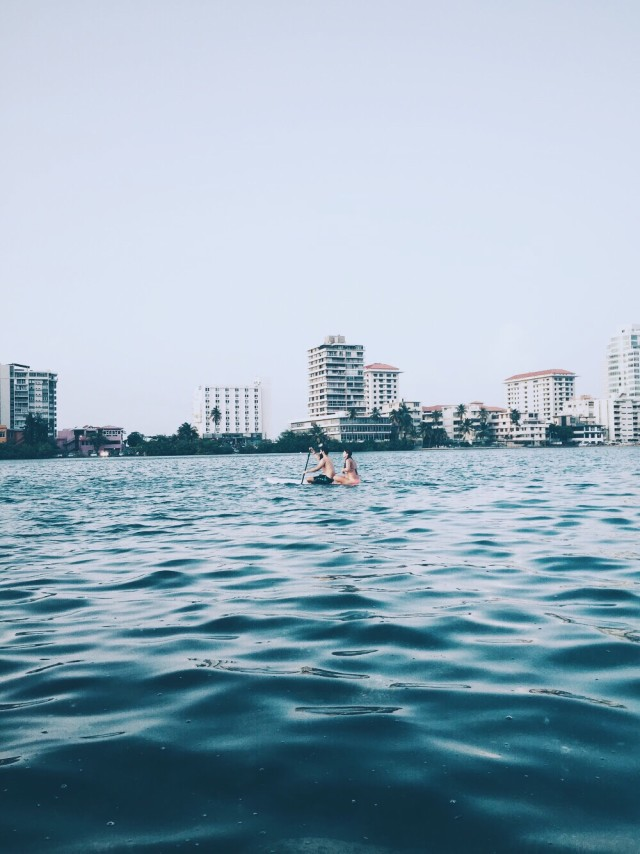 Paddle boarding in the lagoon.
