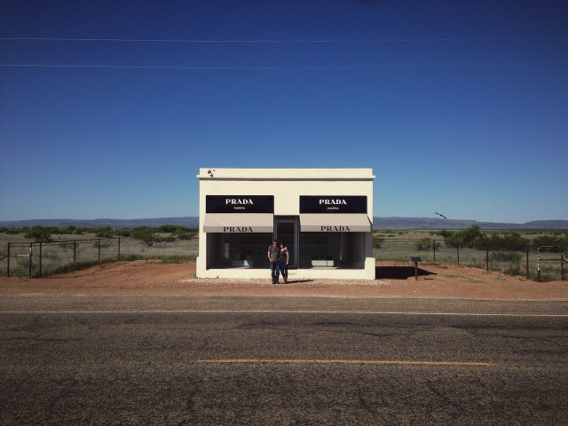 On the road at the Prada installation near Marfa, TX with my wife Stacy. Part of a memorable road trip to west Texas.