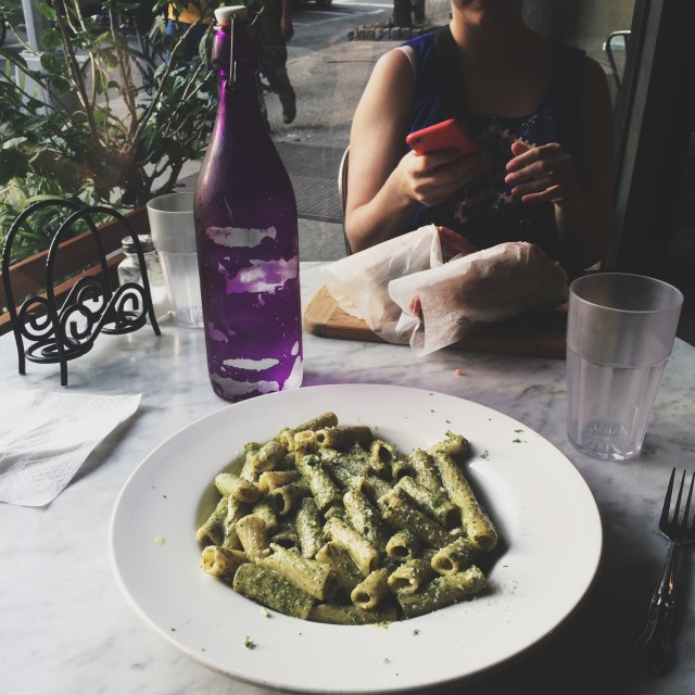 Pesto pasta at Sergimmo Salumeria in NYC