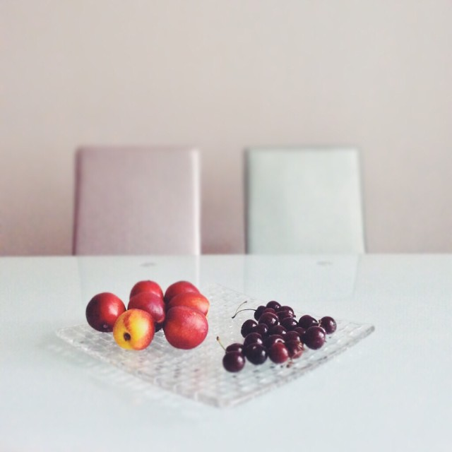 Fruits in a glass dish