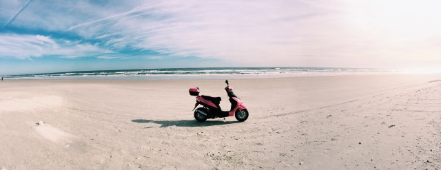 Pink scooter panorama