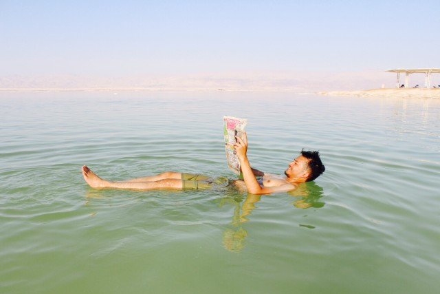 Floating on the dead sea, israel
