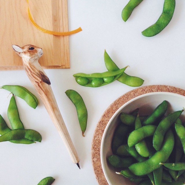 Snack time with edamame green peas