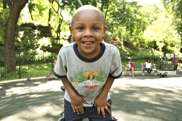 African-American boy playing in Central Park