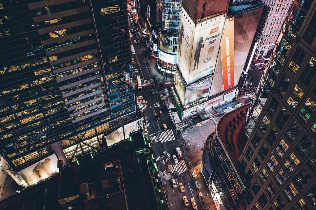 Times square busy streets at night.