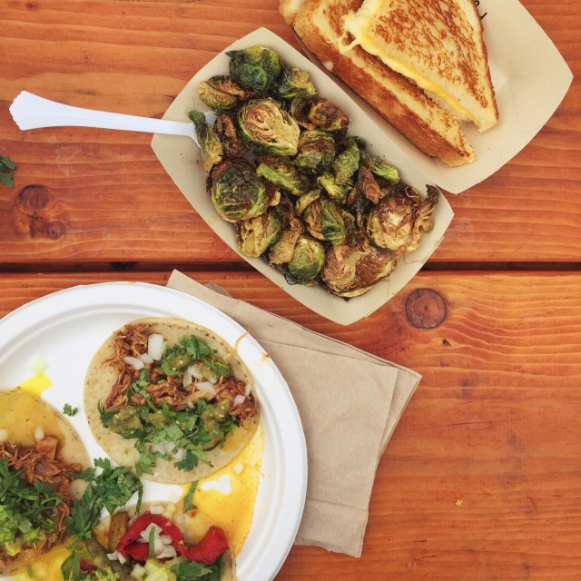 festival food for two! tacos, brussels sprouts and grilled cheese
