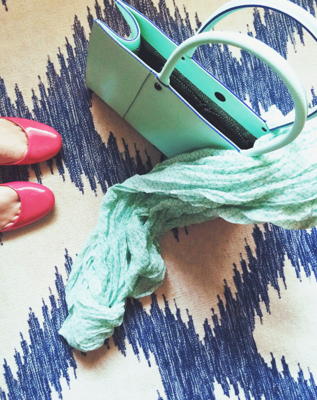 Mint green and indigo ikat