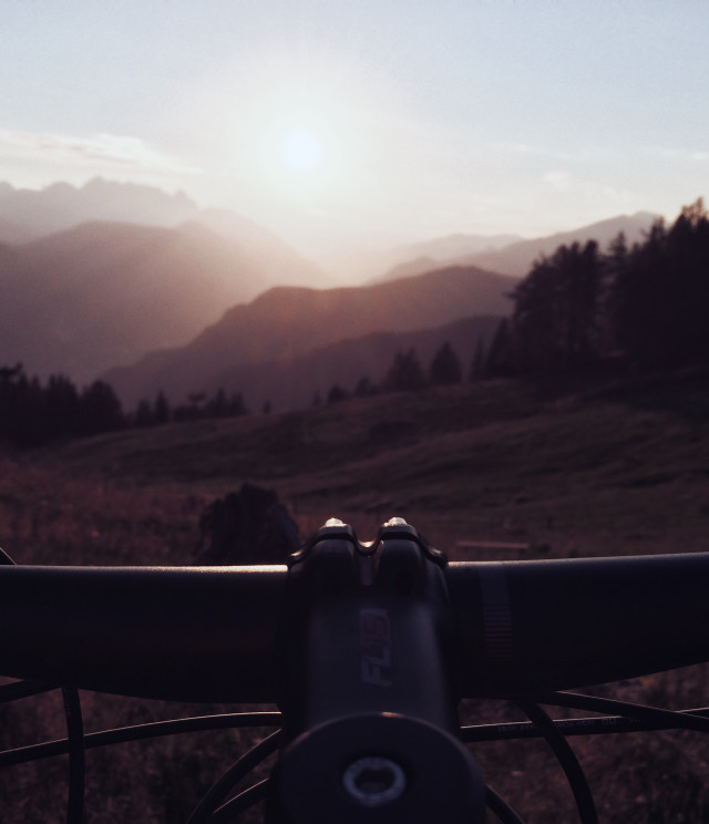Sunset as viewed from the bike. Just before the sunset in slovenian mountains and hills.