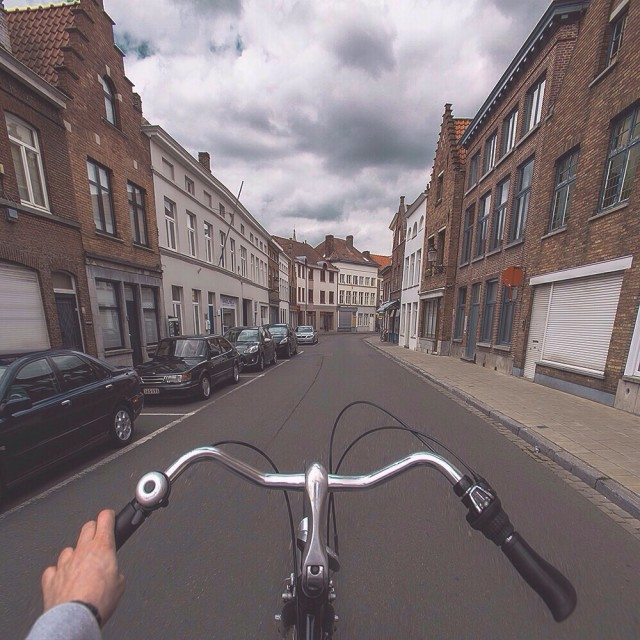 Cycling on  Brugge streets