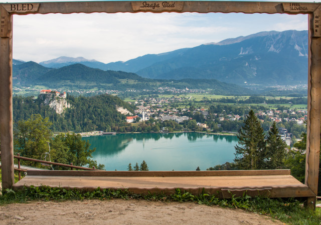 Framed view of lake Bled