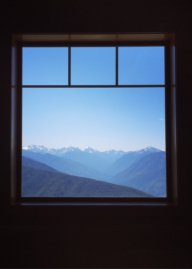 After ascending a beautiful mountain in Olympic National Park, a window in the visitors center perfectly framed the mesmerizing view.