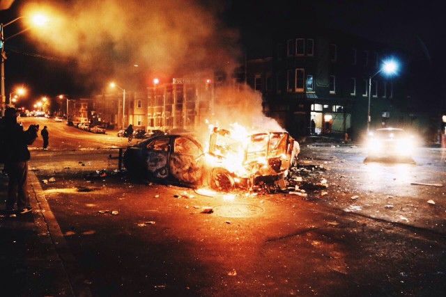 Cars set ablaze during the Baltimore riots.
