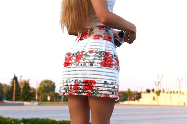 A girl in a short skirt