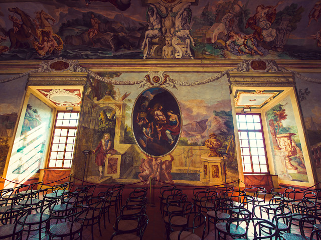 Beautiful interior of castle Brezice with painted ceilings with fresco.
