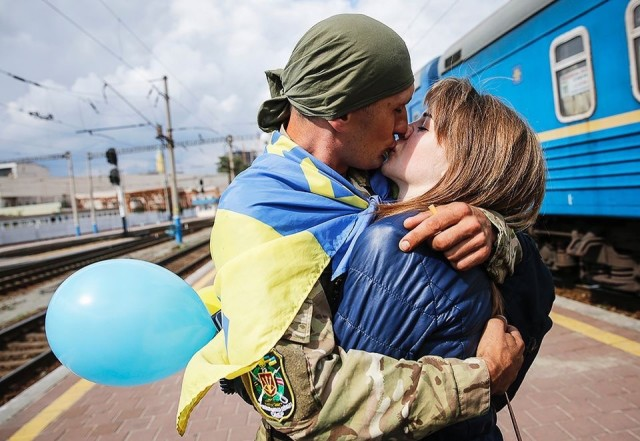 Ukrainian hero, is back from the war