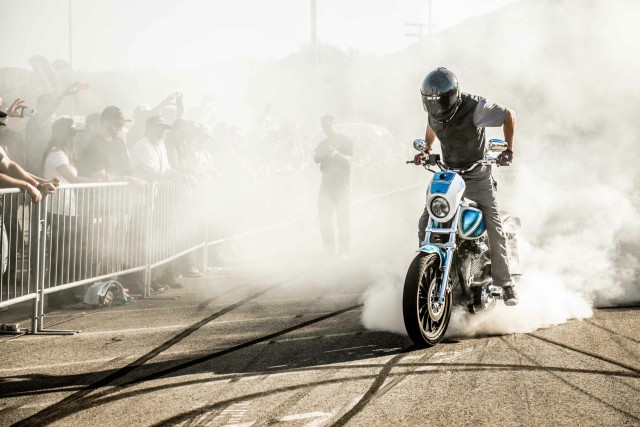 Unknown rider doing a burnout