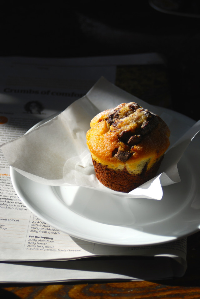 Fresh muffin on breakfast table