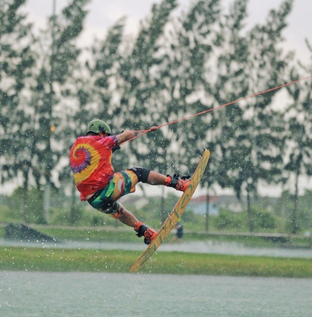 Wake boarding in the rain