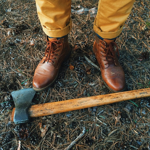 Man boots and ax