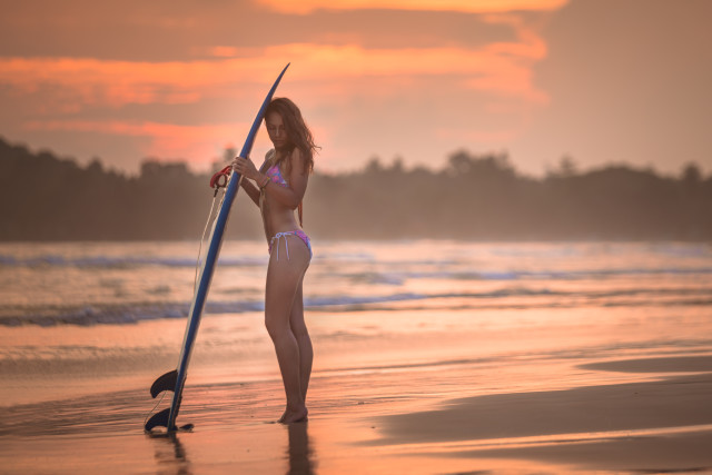 Free authentic surfer girl photo on Reshot