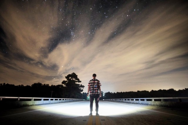 Out in the middle of Georgia, Long exposure of the night sky on a overpass.  Shot with a Fujifilm X-T1 w/ Rokinon 12mm @ F2