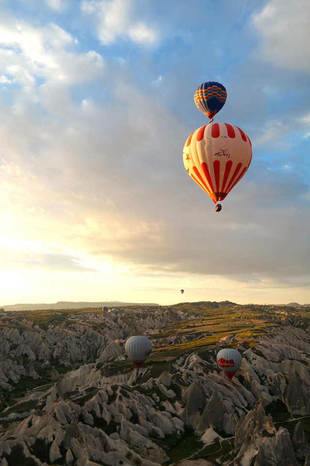 Balloons at sunrise in Cappadocia, Turkey