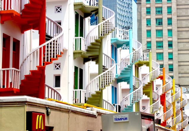 Colorful spiral staircases•Bugis, Singapore