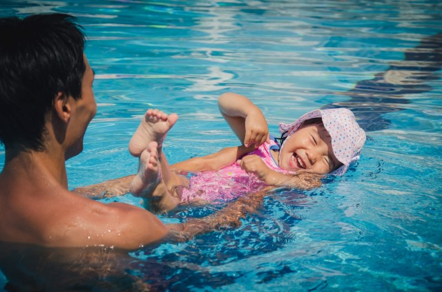 First swimming for a little girl