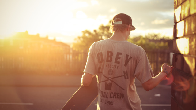Skateboarding in the sunset