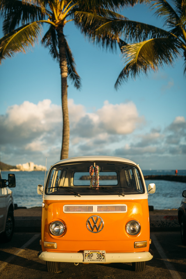 Bright Orange VW Van.