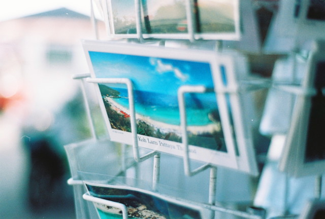 Postcard shelf, close up