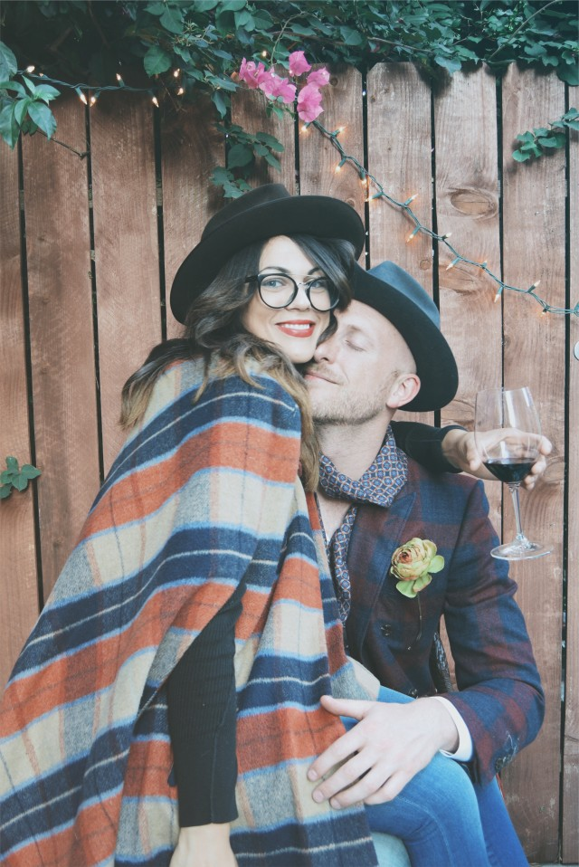 Couple in plaid and hats