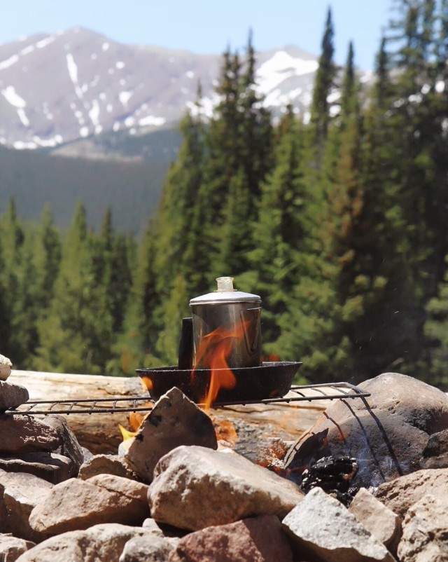 Morning coffee brewing at 11,000 ft.