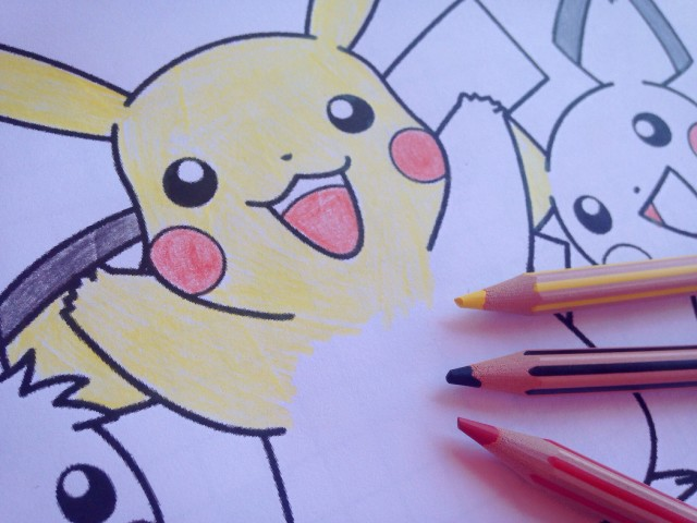 Free stock photo of Pokemon coloring in book with colored pencils ...