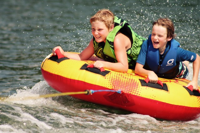 Happy kids tubing